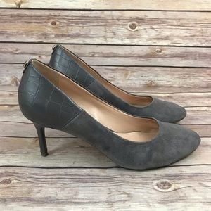 Tommy Hilfiger Gray Suede Croc Heel Career Shoes